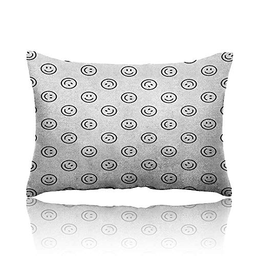 Anyangeight Emoji Cars Pillowcase Smiling Expression Line Icon Pattern in Black and White Happy Mood Positive Vibes Youth Pillowcase 14