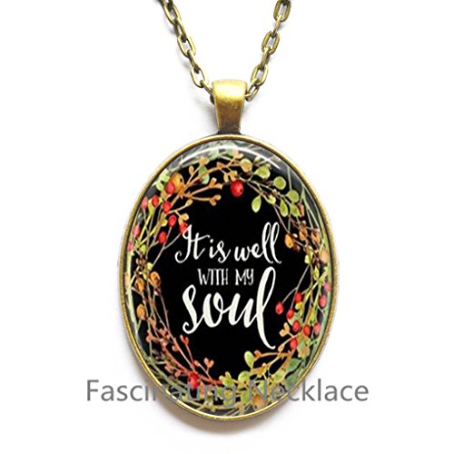 It Is Well with My Soul Glass Cabochon Locket Necklace Religious Jewelry Bible Quote Jewelry Gift for Her Locket Necklace,AE0083