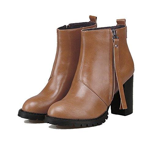 AmoonyFashion Womens PU Ankle-High Solid Chains High-Heels Boots Brown 23EIhm
