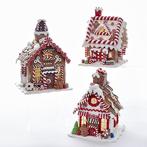 BATTERY OPERATED LED GINGERBREAD HOUSE WITH 38MM WARM WHITE LED LIGHT - 3 ASSORTED - USES 3