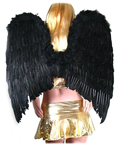 [SACASUSA (TM) Extra Large Feather Halloween Fairy Angel Wing in Black one size] (Angel Wings For Halloween Costumes)