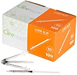 1ml Syringe Only - 100 Sterile Syringes by Care Touch (No needle) (1ml Luer Slip Tip, 100)