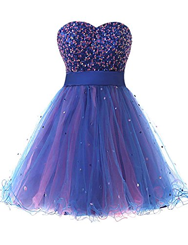 Sarahbridal Juniors Sequin Sweetheart Homecoming Dresses Short Tulle Cocktail Gowns Sweet 16 Royal Blue US14