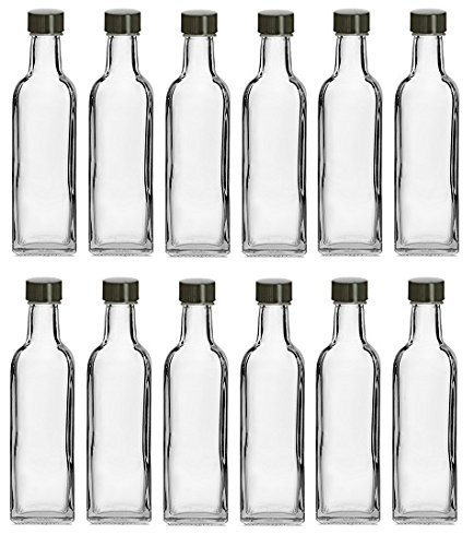 Nakpunar 12 pcs, 60 ml Square Glass Liquor Bottles with Black Caps (2 oz)