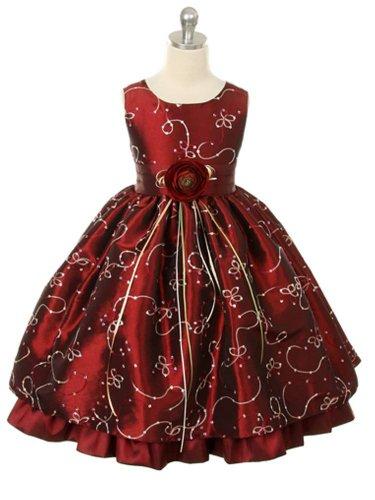 Taffeta Christmas Holiday Dress (Girls Christmas Holiday Dress, Size Little to 12, Burgendy)