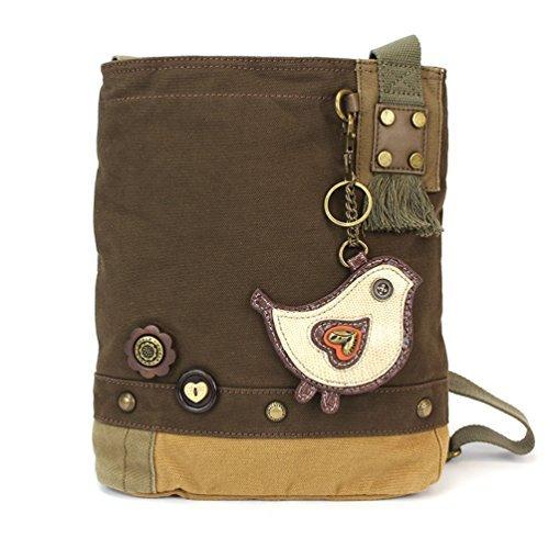 CHALA Patch Cross-Body Women Handbag, Canvas Messenger Bag (Bird Dark Brown)