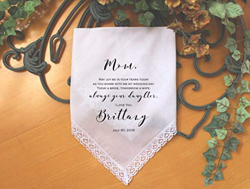 Mother of the Bride handkerchief, PRINTED, May joy be in your tears today, Mom Handkerchief, Mother of the Bride Gift,Personalized. LS6FPaCo by Snugahug[74] ()