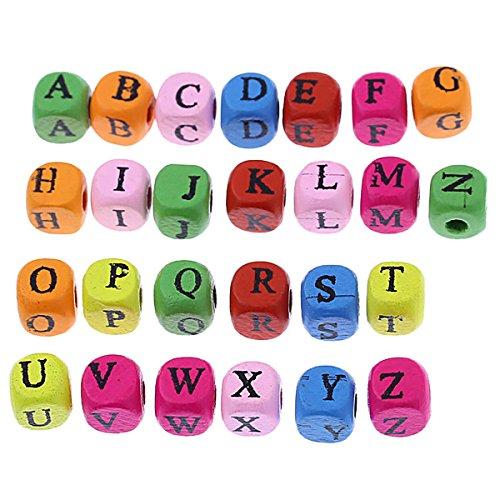 [YF] ブレスレット ネックレス ジュエリー手作りパーツ 四角形 木製の珠 多色 混合カラー ローマ字 サイズ:8x8mm 200個の商品画像