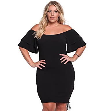 b39af505aa7 ROSIANNA Off Shoulder Ruffles Short Sleeves Bodycon Plus Size Party Dresses  (Black
