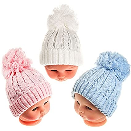 3c6bafb291a Baby boys girls Winter single bobble pompom hat pink blue white (NEWBORN-12  MONTHS