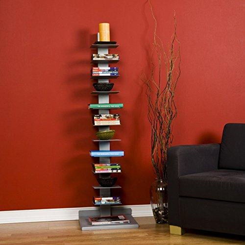 Southern Enterprises Spine Book Tower - Metal Floor Shelves, Silver by Southern Enterprises (Image #7)