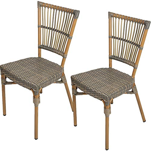 Livebest Rattan Patio Dining Chair Set of 2 All-Weather Wicker French Cafe Bistro Chair with Aluminum Frame Indoor Outdoor,Brown