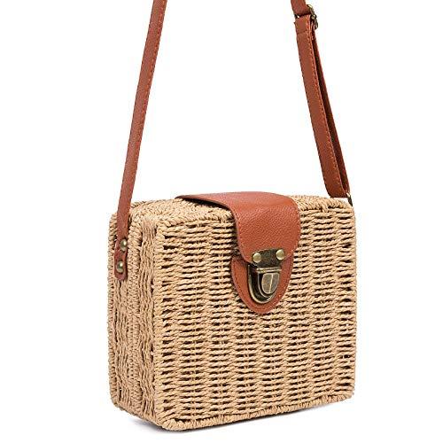Dunnomart Circle Square Messenger Straw Brown Women Beach Shoulder Women Bags Bags Rattan Bags Straw Handbag xYq1YFUrw