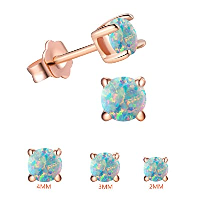 d38c19ae9 Tiny Round Opal Stud Earrings Sets For Kids-18K Rose Gold Plated  Birthstones Earrings For