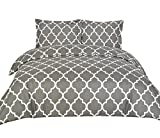 Duvet Covers (Queen, Grey) 3 Piece Set Duvet Cover - 2 Pillow Shams Hotel Quality Brushed Microfiber - by Utopia Bedding