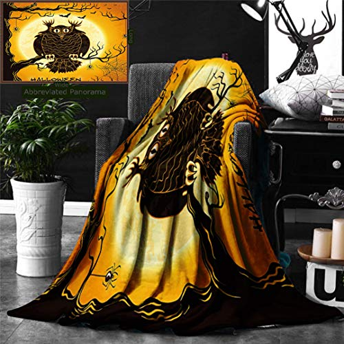 Ralahome Unique Custom Digital Print Flannel Blankets Halloween Decorations Collection Spooky Owl On Tree Branch Surrounded Spider Webs A Super Soft Blanketry Bed Couch, Twin Size 80 x 60 Inches