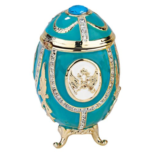 (Design Toscano Russian Imperial Eagle Collection Romanov Style Enameled Egg: Teal Green)