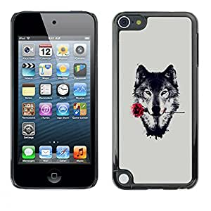 All Phone Most Case / Oferta Especial Duro Teléfono Inteligente PC Cáscara Funda Cubierta de proteccion Caso / Hard Case Apple iPod Touch 5 // Wolf with Rose