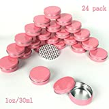 Sarira C Hot Pink 1oz/30ml Aluminum Tins Containers with Screw Top Round for Lip Balm,Cometic.Candles,Crafts,Cream Salves 24 pack