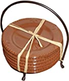 """Sorrento 6"""" Round Plates with Caddy Color: Chocolate"""