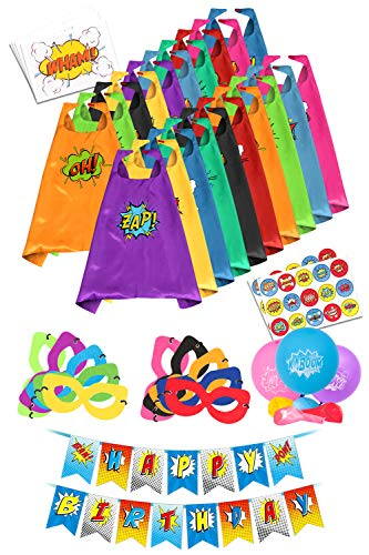 Superhero Capes for Kids Toys - Super Hero Birthday Party Supplies - Dress Up Clothes for Boys and Girls - Pinata Heroes Costumes, Masks, Stickers, Balloons and Banner Favors Set -
