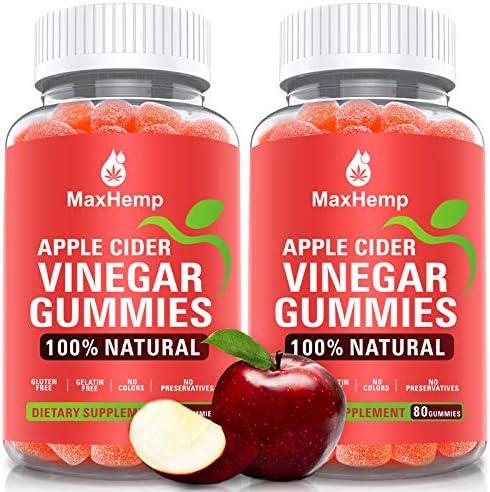 Organic Apple Cider Vinegar Gummies by MaxHemp – for Immune Support, Detox & Weight Loss – with The Mother, Vitmain B9, B12, Gluten-Free, Vegan, Non-GMO (2 Pack, 160ct)