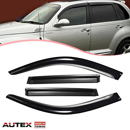 AUTEX Tape On Window Visor Compatible with Chrysler Pt Cruiser 2001 2002 2003 2004 2005 2006 2007 2008 2009 2010 Side Window Deflectors Rain Guard Made in Taiwan