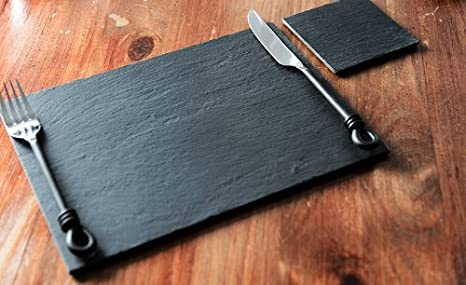 Set Of 8 100 Natural High Quality Slate Placemats 8 Coasters 16 Piece Set Amazon Ca Home Kitchen