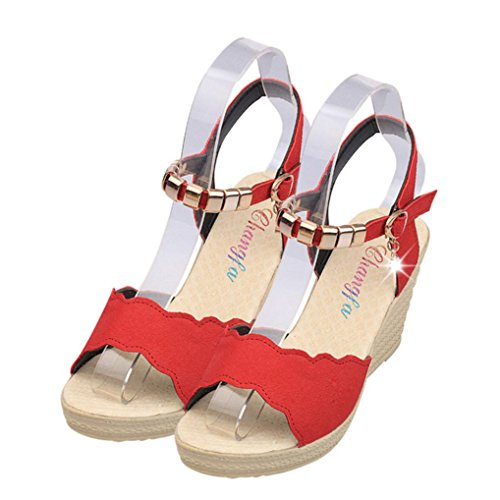 Lolittas Wedge Sandals Women Size 2-7, Ladies Boho Beach Glitter Sparkly Bling High Chunky Heel Platfrom Wide Fit Peep Toe Slingback Lace up Outdoor Shoes Red
