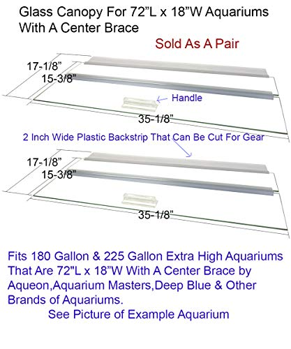 Blue Spotted Glass Canopy for Aquariums with and Without Center Braces, 10 Gallon to 200 Gallon Aquariums (Tank with Center Brace, 72