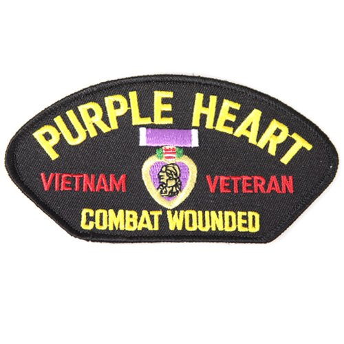 Purple Heart Vietnam Veteran Combat Wounded Embroidered Patch Patriotic Gifts