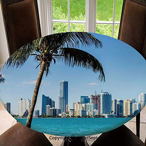 Polyester Fabric Elastic Edged Tablecloth,Miami Downtown with Biscayne Bay Buildings and Palm Tree Panoramic Soil Resistant Holiday Tablecloth, 47 Inch Round,Sky Blue Aqua Green (Best Soil For Bay Trees)