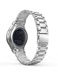 Gear S2 Watch Band, MoKo Universal Stainless Steel Watch Band Strap Bracelet + Connector for Samsung Gear S2 SM-R720 & SM-R730 SmartWatch (Not Fit Gear S2 SM-R735), SILVER