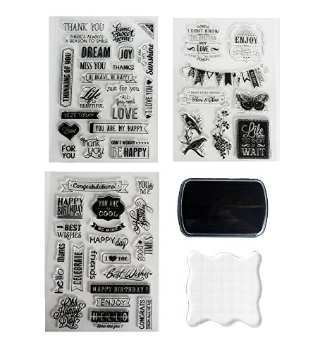 Clear Stamps Starter Set by Tanpopo Art - Wishes Collection| 3 Well Wishes Clear Stamps Sheet, Stamp Ink, Acrylic Clear Stamp Block | Suitable as Planner Stamps, Stamping Tool, Card Making, Scrapbook by Tanpopo Art