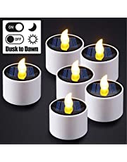 6pcs Solar Tea Lights, PChero Waterproof LED Flameless Tealight Candles with Dusk to Dawn Light Sensor for Lantern Window Camping Outdoor Indoor Home Use