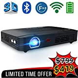 Electronics : WOWOTO T8E Full HD Mini Portable Projector WiFi&Bluetooth Home Theater Projector Support 1080P Max300 DLP 3D Video Projector Built in Battery 7800mAh Android System for Gaming Business&Education