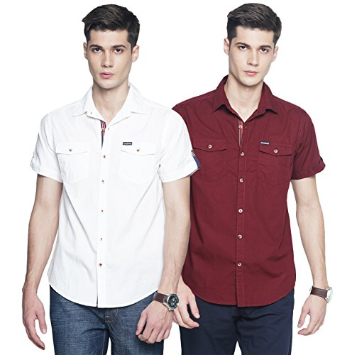 OJASS Men Solid Casual White, Maroon Shirt  Pack of 2