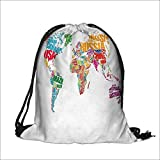 Draw pocket Polyester Backpack Map Made by Names of the Countries Europe America Africa Asia Graphic with Large Pocket and Draw Strings 14''W x 17.5''H