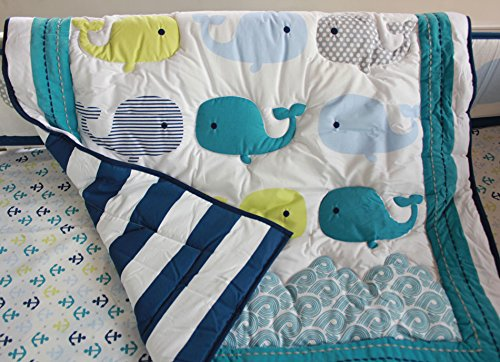 NAUGHTYBOSS Baby Bedding Set Cotton 3D Embroidery Ocean Whale Quilt Bumper Mattress Cover Blanket 8 Pieces Ocean Blue by NAUGHTYBOSS (Image #2)