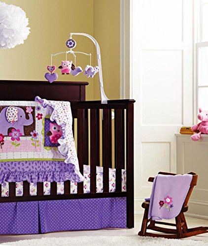 Baby Girls Purple Owl 9pcs Crib Bedding Set with diaper stacker