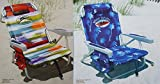 2 Tommy Bahama 2015 Backpack Cooler Chairs with Storage Pouch and Towel Bar (1 multicolor and 1 blue)