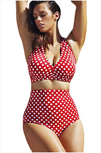 TomYork Red White Polka Dot Plus Size Halter Bikini Swimsuit(Size,2XL)