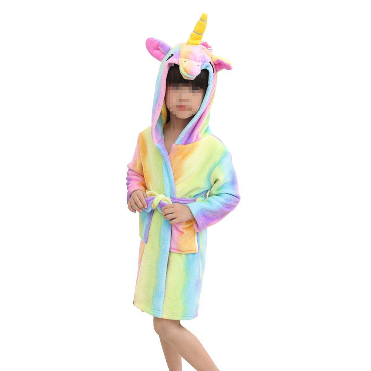 LUOEM Bathrobe Flannel Rainbow Horse Bathrobe Cartoon Pajamas Animal Hooded for Kids