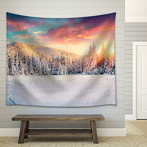 Colorful Winter Panorama in the Carpathian Mountains Fabric Wall Tapestry