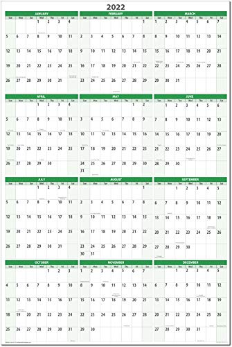(32 x 48 Dry and Wet Erasable Wall Calendars by PlanetSafe Calendars. Best in It's Class (Earth Green Vertical 2022))