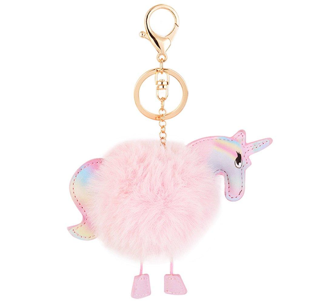 Cute Cartoon Unicorn Model Key Chain Soft Big Fluffy Ball Key Ring Creative Bag Decoration for Girls and Women(Pink)