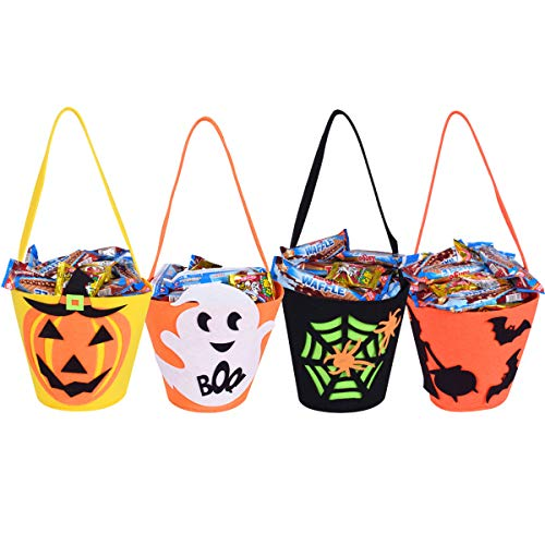 Max Fun 9 inch Candy Felt Holder Buckets(4 Packs) with Handle for Trick-or-Treating Bags Halloween Party Favors Snacks Goodie Bags Bucket Decoration Candy