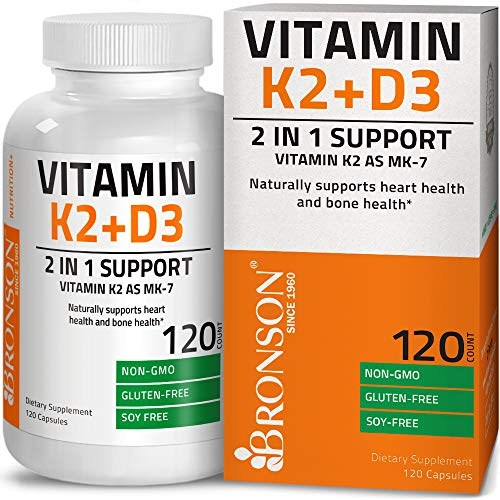 Vitamin K2 (MK7) with D3 Supplement - Vitamin D & K Complex Premium Non GMO & Gluten Free Formula, 120 Capsules