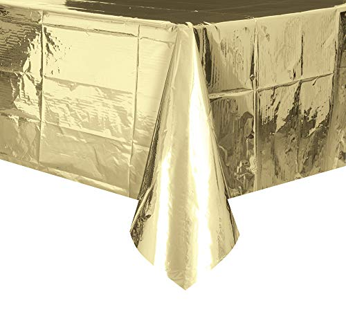 Unique Industries, Plastic Table Cover, Party Supplies - Foil Gold, 108 x 54 Inches