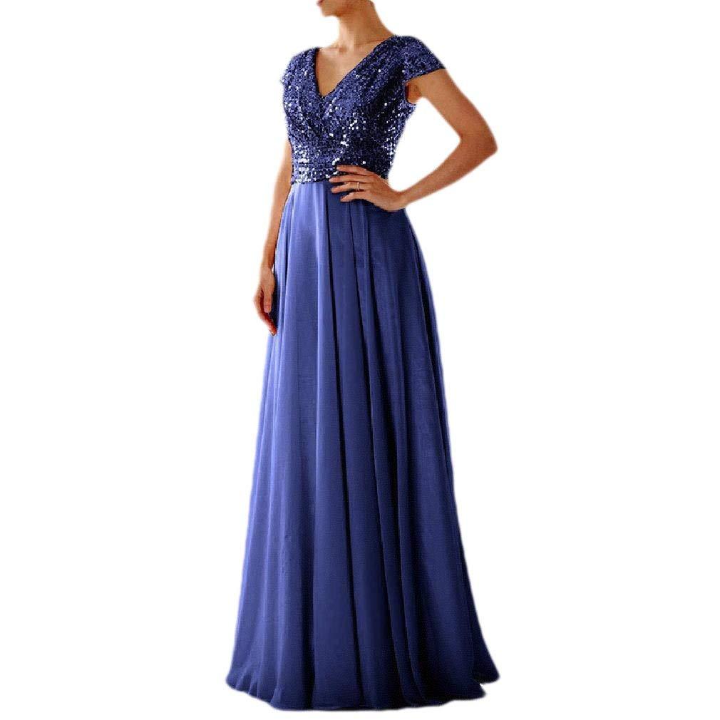 VITryst-Women Empire Waist Short Sleeve V Neck Maxi Party Cocktail Dress